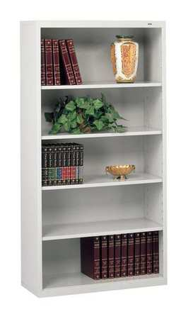 Welded Steel Bookcase, 66in, 5 Shelf, Gray