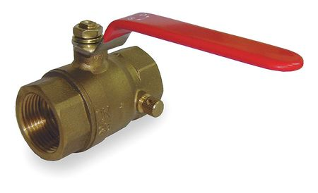 "3/4"" FNPT Brass Ball Valve with Drain Inline"