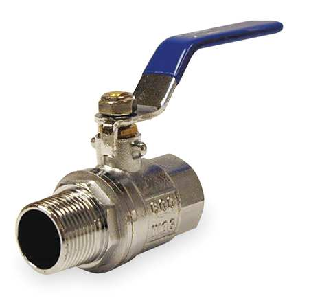 "1/2"" FNPT x MNPT Chrome Brass Ball Valve Inline"