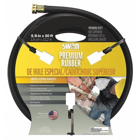 Water Hose, Rnfrcd Rubr, 5/8 In ID, 50 ft L