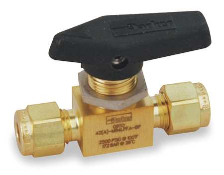 "3/8"" Compr Brass Mini Ball Valve Inline"