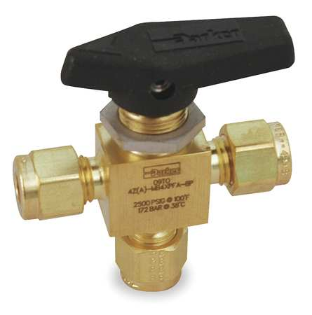 "1/8"" Compr Brass Mini Ball Valve 3-Way"