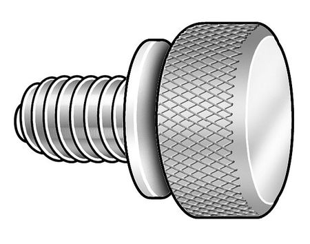 Thumb Screw, Knurl, 1/4-20x3/8 L, Pk5