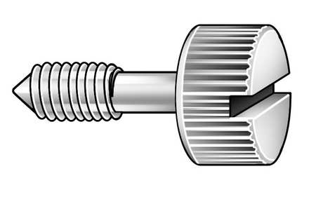Panel Screw, Knurl, 1/4-20x7/8 L, Pk5