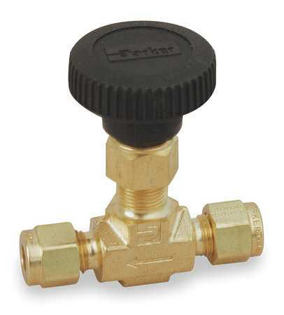 Needle Valve, Straight, Brass, 3/8 In.