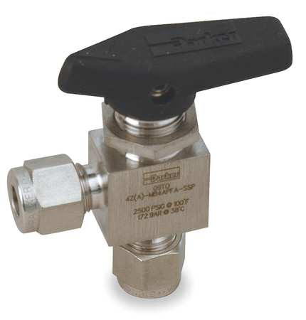 "1/4"" Compr Stainless Steel Mini Ball Valve Angle"