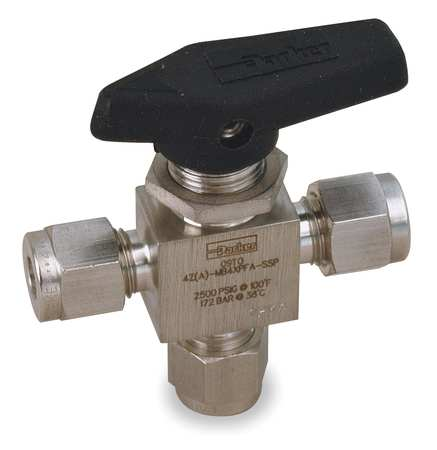"1/4"" Compr Stainless Steel Mini Ball Valve 3-Way"