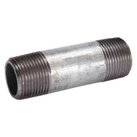 "3"" x 8"" MNPT Threaded Galvanized Steel Pipe Nipple"