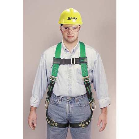 Full Body Harness, Universal, 400 lb, Green