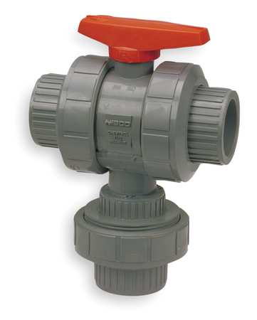 "1-1/4"" FNPT CPVC Ball Valve 3-Way True Union"