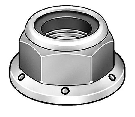 "3/4""-10 Grade 2 Zinc Plated Finish Steel Nylon Insert Lock Nut,  5 pk."