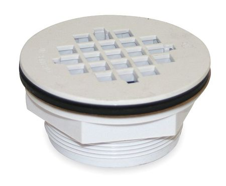 Shower Drain, Compression, PVC, White Grid