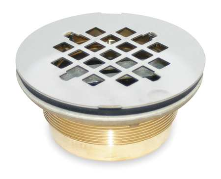 Shower Drain, Compression, Brass, SS Grid