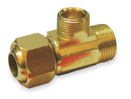 "1/4"" Compression x IPS Brass Supply Stop Extender Tee"