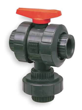 "1-1/4"" FNPT PVC Ball Valve 3-Way True Union"