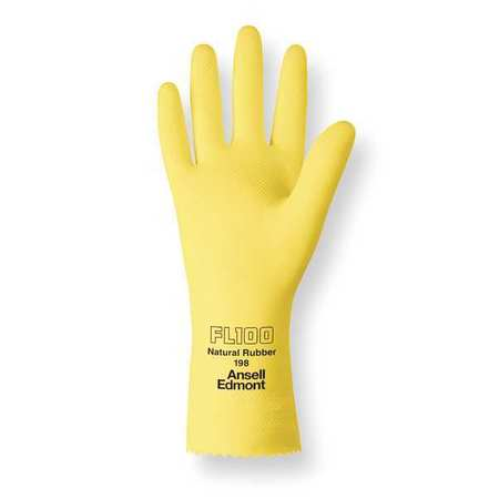 Chemical Resistant Gloves,  Latex,  Yellow,  FL 100,  Size 8