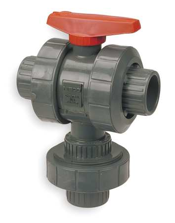 "1-1/4"" Socket PVC Ball Valve 3-Way True Union"