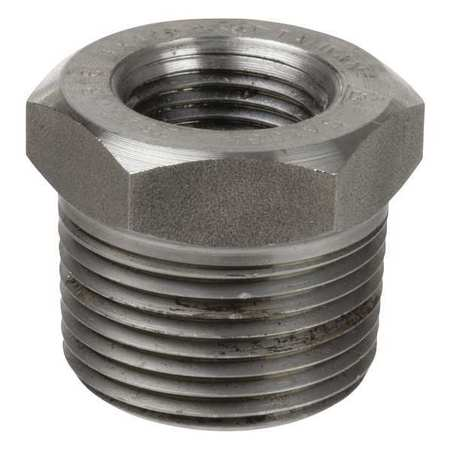 Hex Reducing Bushing, 3/4 x 1/2 In, 316 SS
