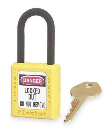 "Lockout Padlock, KD, Yellow, 1-3/4""H"