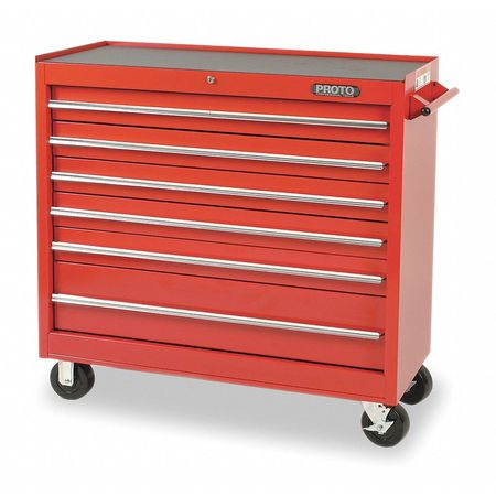 "41"" Rolling Cabinet,  1 Shelf,  6 Drawers,  Red"
