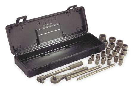 "Socket Wrench Set, Metric, 1/2"" Dr, 26 pc"