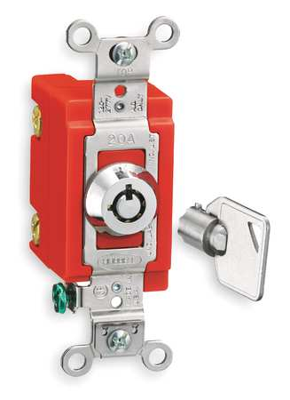 Wall Swtch, 1-Pol, 20A, SS, Barrl Key Lockng