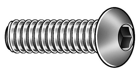 "#10-32 x 1/4"" Zinc-Plated Alloy Steel Button Socket Head Cap Screw,  50 pk."
