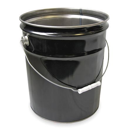 Steel Pail, Black, Cap 5 Gal, With Lining