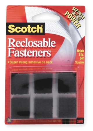 "7/8"" W x 7/8"" L Hook-and-Loop Square Black Reclosable Adhesive Fastener,  24 pk."