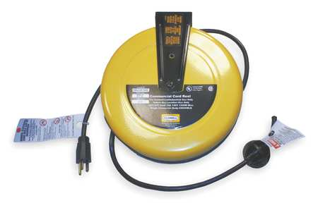 Cord Reel, 25 ft, 16/3, SJT, Yellow, 120VAC