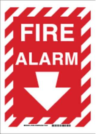 Fire Alarm Sign, 14 x 10In, WHT/R, Fire ALM