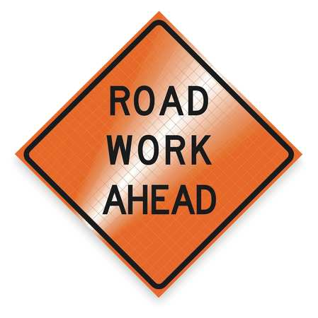 Work Ahead Sign, 48 x 48In, BK/ORN, Text