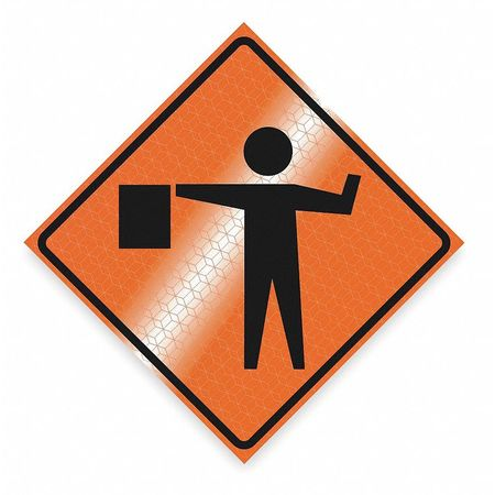 Traffic Sign, 48 x 48In, BK/ORN, SYM, MUTCD