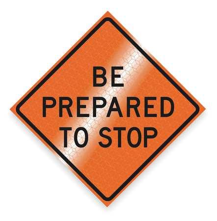 Traffic Sign, 48 x 48In, BK/ORN, Text, MUTCD