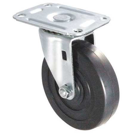 Swivel Plate Caster, Therm Rubber, 3 in, 125 lb, Gry