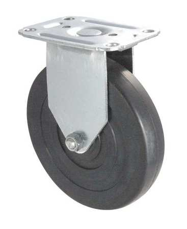 Rigid Plate Caster, Rubber, 5 in., 125 lb, D