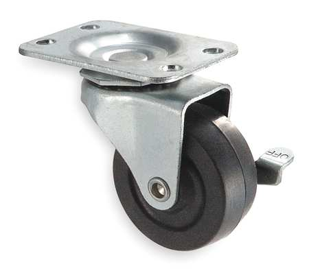 Swivel Plate Castr, Rubbr, 5 in, 125 lb, Blk