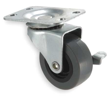 Swivel Plate Caster, Therm Rubber, 2 in, 75 lb, D