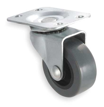 Swivel Plate Caster, Therm Rubber, 3 in, 125 lb