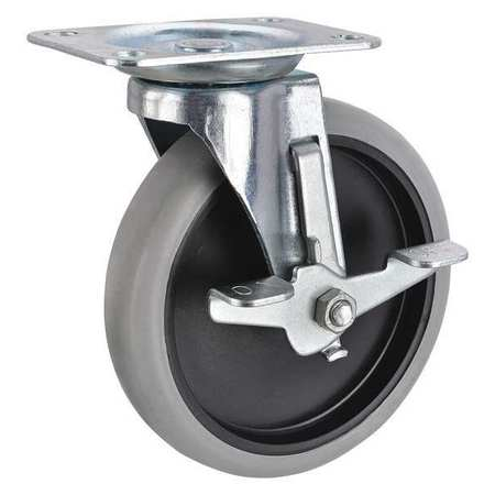Swivel Plate Caster,  Therm Rubber, 5 in, 145 lb