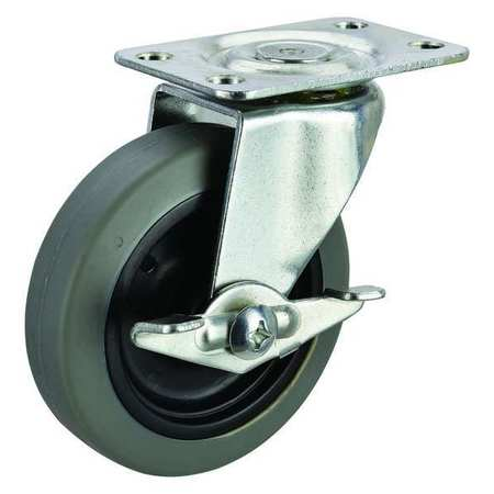 Swivel Plate Caster, Therm Rubber, 3 in, 100 lb, D