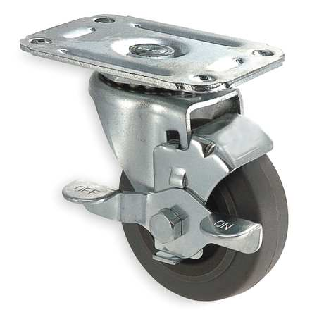 Swivel Plate Caster, Therm Rubber, 3 in, 125 lb, D