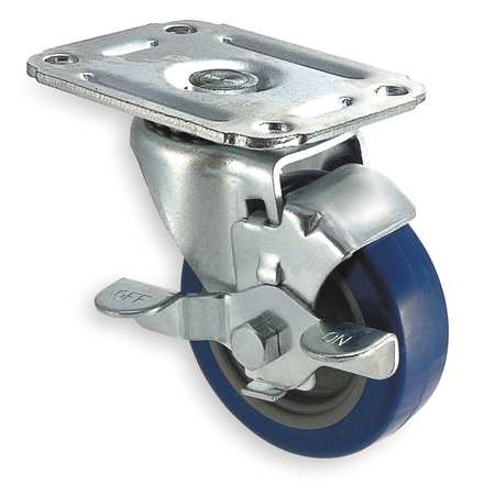 Swivel Plat Castr, Polyurthan, 3 in, 125 lb