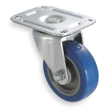 Swivel Plate Caster, Poly, 5 in., 145 lb., D