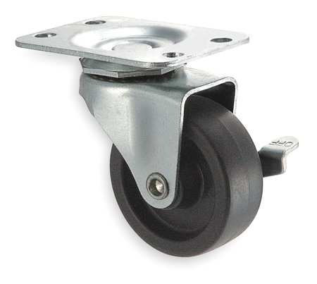 Swivel Plate Caster, Poly, 3 in, 125 lb, Bre