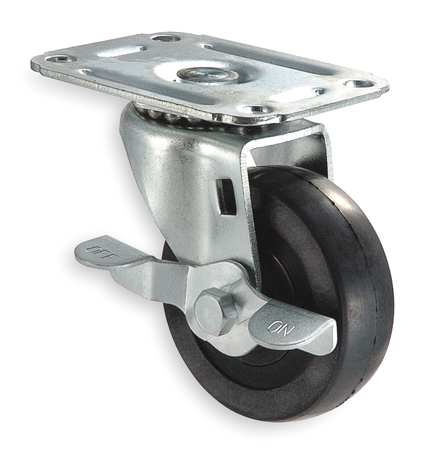 Swivel Plat Caster, Rubber, 5 in., 125 lb.