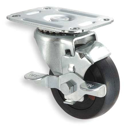 Swivel Plate Caster, Rubber, 5 in., 125 lb.