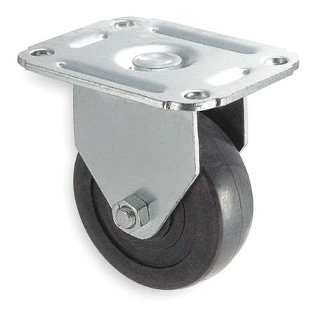 Rigid Plate Caster, Rubber, 3 in., 100 lb.