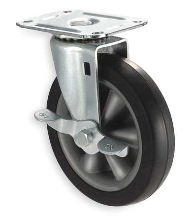 Swivel Plate Caster, Rubbr, 5 in., 130 lb, D