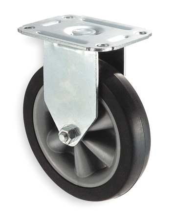 Rigid Plate Caster, Rubber, 4 in., 120 lb.